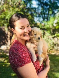 Allie holding her puppy